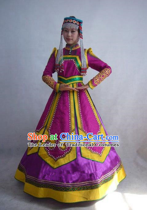 Traditional Chinese Mongol Nationality Dance Costume Handmade Princess Mongolian Robe, China Mongolian Minority Nationality Rosy Dress Clothing for Women