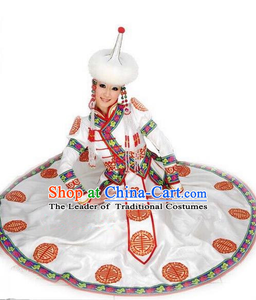 Traditional Chinese Mongol Nationality Dance Costume Handmade Princess Mongolian Robe, China Mongolian Minority Nationality White Dress Clothing for Women