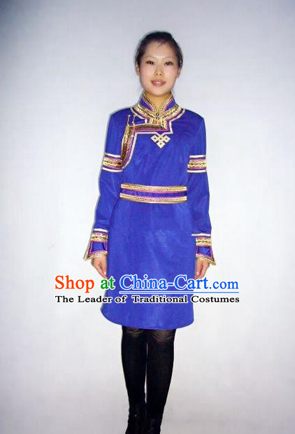 Traditional Chinese Mongol Nationality Dance Costume Handmade Blue Mongolian Robe, China Mongolian Minority Nationality Dress Clothing for Women