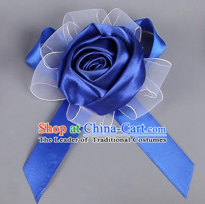 Top Grade Wedding Accessories Decoration Corsage, China Style Wedding Car Ornament Rose Flowers Bride Bridegroom Royalblue Ribbon Brooch