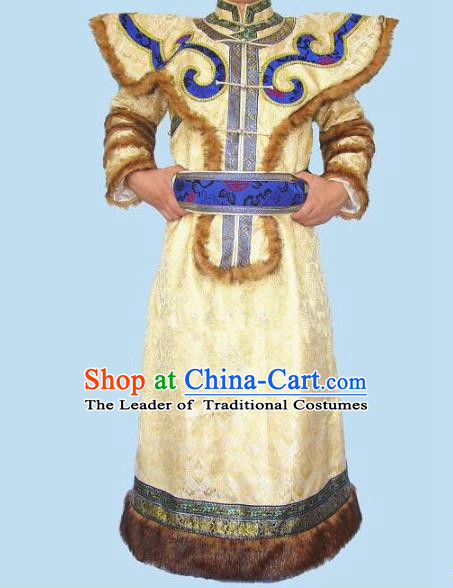 Traditional Chinese Mongol Nationality Dance Costume Handmade Yellow Mongolian Robe, China Mongolian Minority Nationality Bridegroom Clothing for Men