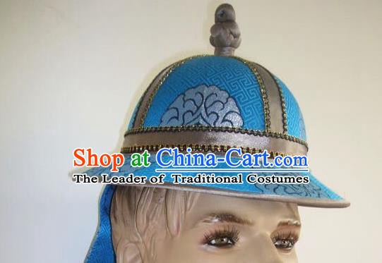 Traditional Handmade Chinese Mongol Nationality Dance Headwear Royal Prince Hat, China Mongolian Minority Nationality Warrior Headpiece for Men