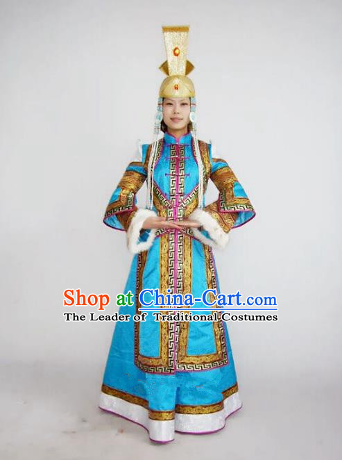 Traditional Chinese Mongol Nationality Dance Costume Handmade Wedding Bride Mongolian Robe, China Mongolian Minority Nationality Blue Dress Clothing for Women