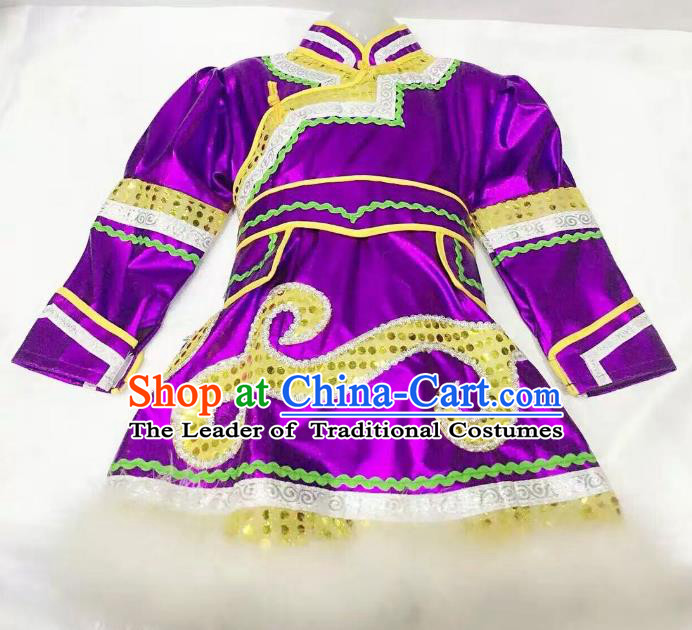 Traditional Chinese Mongol Nationality Dance Costume Handmade Embroidery Purple Mongolian Robe, China Mongolian Minority Nationality Dress for Kids