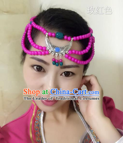 Traditional Handmade Chinese Mongol Nationality Handmade Sliver Headband, China Mongols Mongolian Minority Nationality Wedding Bride Tassel Headwear Headpiece for Women