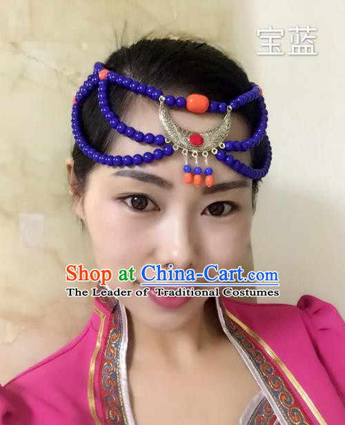 Traditional Handmade Chinese Mongol Nationality Handmade Sliver Purple Beads Headband, China Mongols Mongolian Minority Nationality Wedding Bride Tassel Headwear Headpiece for Women