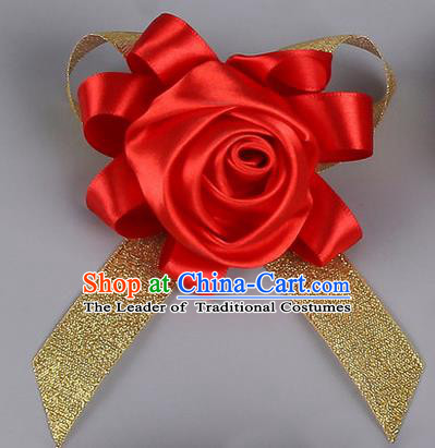 Top Grade Wedding Accessories Decoration Corsage, China Style Wedding Car Ornament Red Rose Flowers Bride Bridegroom Golden Ribbon Brooch