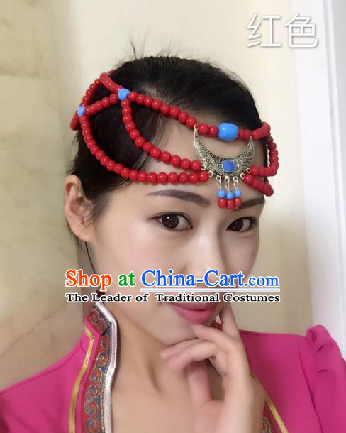 Traditional Handmade Chinese Mongol Nationality Handmade Sliver Red Beads Headband, China Mongols Mongolian Minority Nationality Wedding Bride Tassel Headwear Headpiece for Women