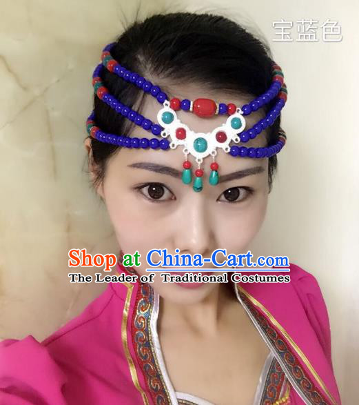 Traditional Handmade Chinese Mongol Nationality Handmade Royalblue Beads Headband, China Mongols Mongolian Minority Nationality Wedding Bride Tassel Headwear Headpiece for Women