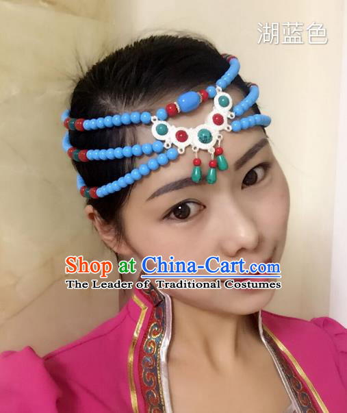 Traditional Handmade Chinese Mongol Nationality Handmade Blue Beads Headband, China Mongols Mongolian Minority Nationality Wedding Bride Tassel Headwear Headpiece for Women