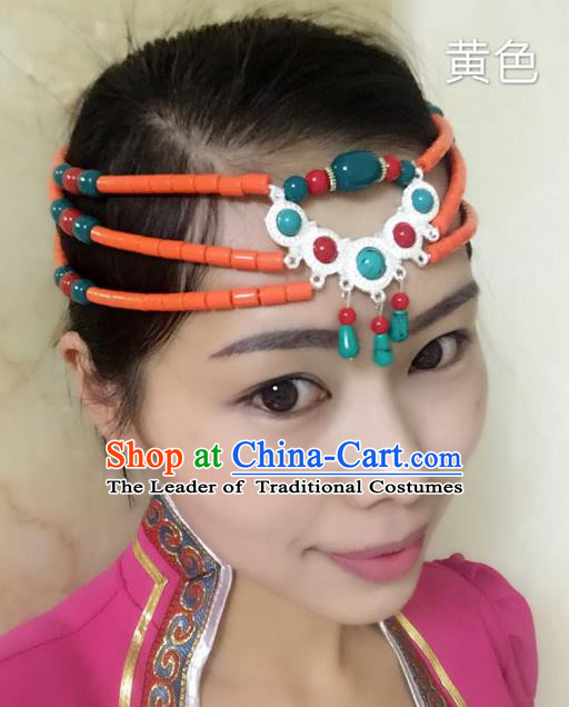 Traditional Handmade Chinese Mongol Nationality Handmade Orange Beads Headband, China Mongols Mongolian Minority Nationality Wedding Bride Tassel Headwear Headpiece for Women
