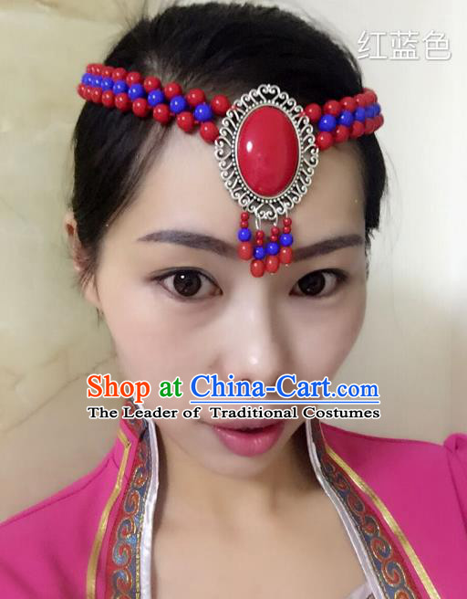 Traditional Handmade Chinese Mongol Nationality Handmade Blue and Red Beads Headband, China Mongols Mongolian Minority Nationality Wedding Bride Tassel Headwear Headpiece for Women