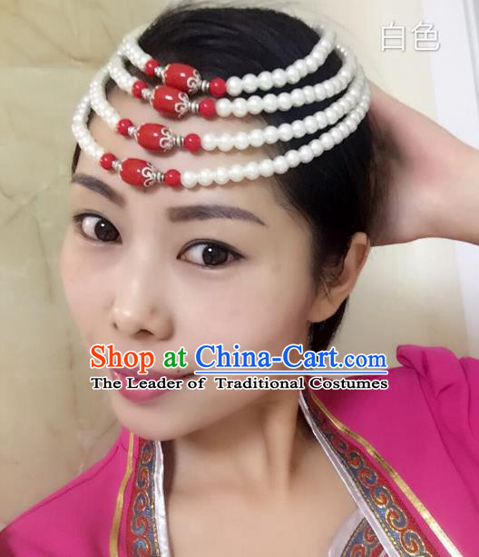 Traditional Handmade Chinese Mongol Nationality Handmade White Beads Headband, China Mongols Mongolian Minority Nationality Wedding Bride Headwear Headpiece for Women