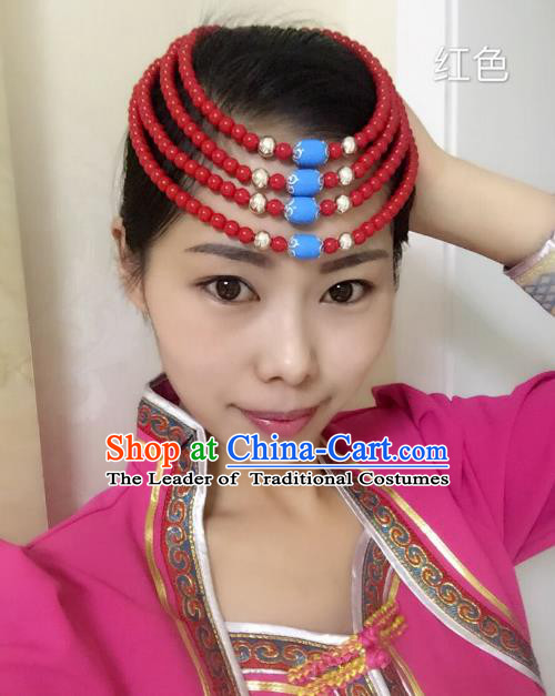 Traditional Handmade Chinese Mongol Nationality Handmade Red Beads Headband, China Mongols Mongolian Minority Nationality Wedding Bride Headwear Headpiece for Women