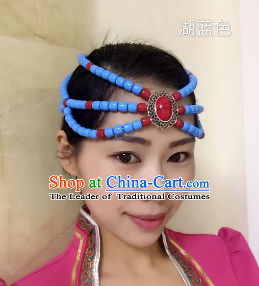 Traditional Handmade Chinese Mongol Nationality Handmade Blue Beads Headband, China Mongols Mongolian Minority Nationality Wedding Bride Headwear Headpiece for Women