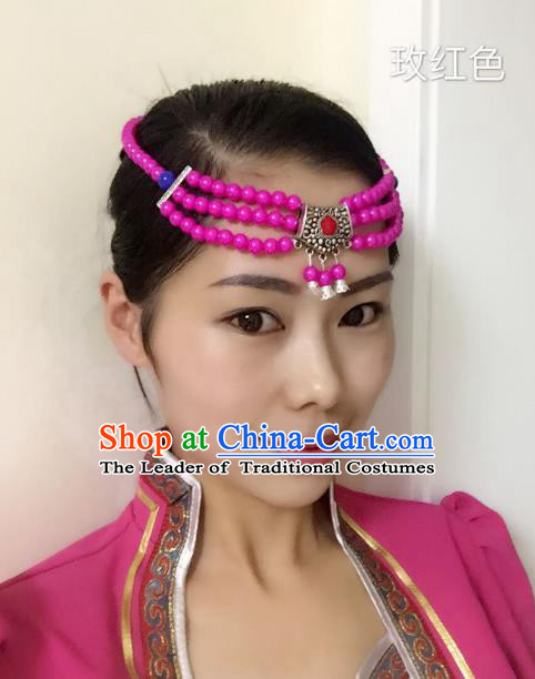 Traditional Handmade Chinese Mongol Nationality Handmade Rosy Beads Headband, China Mongols Mongolian Minority Nationality Wedding Sliver Headwear Headpiece for Women
