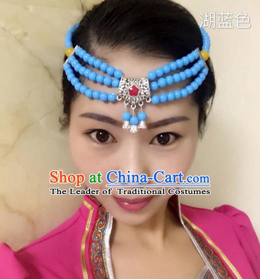 Traditional Handmade Chinese Mongol Nationality Handmade Blue Beads Headband, China Mongols Mongolian Minority Nationality Wedding Sliver Headwear Headpiece for Women