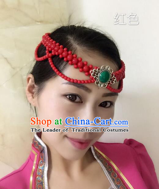 Traditional Handmade Chinese Mongol Nationality Handmade Red Beads Headband, China Mongols Mongolian Minority Nationality Wedding Sliver Headwear Headpiece for Women