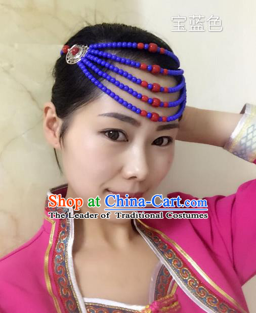 Traditional Handmade Chinese Mongol Nationality Handmade Royalblue Beads Hair Accessories, China Mongols Mongolian Minority Nationality Wedding Headwear for Women