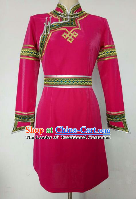 Traditional Chinese Mongol Nationality Dance Costume Handmade Rosy Mongolian Robe, China Mongolian Minority Nationality Princess Dress Clothing for Women