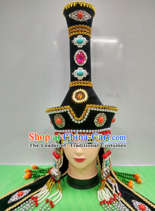 Traditional Handmade Chinese Mongol Nationality Handmade Bride Black Hat, China Mongols Mongolian Minority Nationality Wedding Headwear for Women