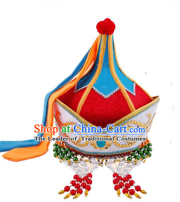 Traditional Handmade Chinese Mongol Nationality Handmade Princess Hat, China Mongols Mongolian Minority Nationality Headwear for Women