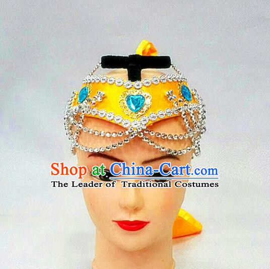 Traditional Handmade Chinese Mongol Nationality Handmade Yellow Hair Accessories, China Mongols Mongolian Minority Nationality Headband Headwear for Women
