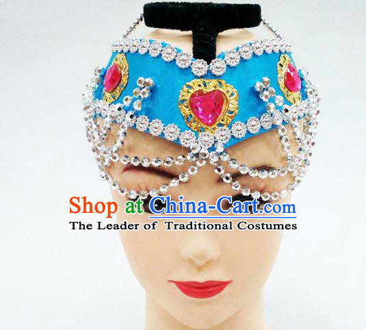 Traditional Handmade Chinese Mongol Nationality Handmade Blue Hair Accessories, China Mongols Mongolian Minority Nationality Headband Headwear for Women