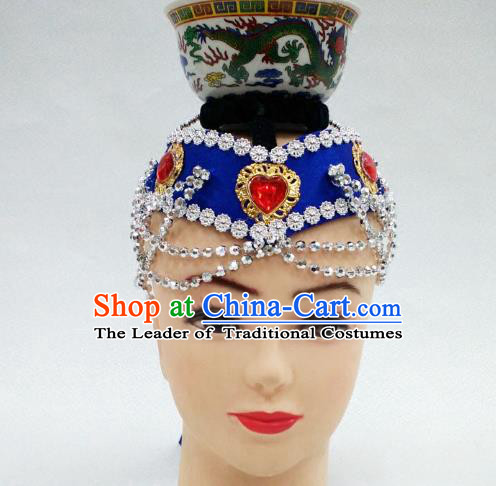 Traditional Handmade Chinese Mongol Nationality Handmade Royalblue Hair Accessories, China Mongols Mongolian Minority Nationality Headband Headwear for Women