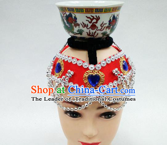 Traditional Handmade Chinese Mongol Nationality Handmade Red Hair Accessories, China Mongols Mongolian Minority Nationality Headband Headwear for Women