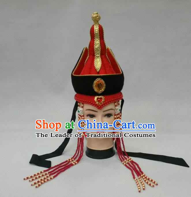 Traditional Handmade Chinese Mongol Nationality Handmade Queen Tassel Hat Hair Accessories, China Mongols Mongolian Minority Nationality Wedding Headwear for Women