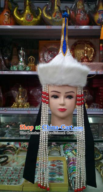 Traditional Handmade Chinese Mongol Nationality Handmade Princess Pearls Tassel Hat Hair Accessories, China Mongols Mongolian Minority Nationality Wedding Headwear for Women