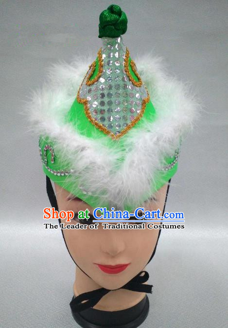 Traditional Handmade Chinese Mongol Nationality Handmade Princess Green Hat Hair Accessories, China Mongols Mongolian Minority Nationality Headwear for Women