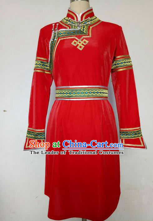 Traditional Chinese Mongol Nationality Dance Costume Handmade Red Mongolian Robe, China Mongolian Minority Nationality Princess Dress Clothing for Women