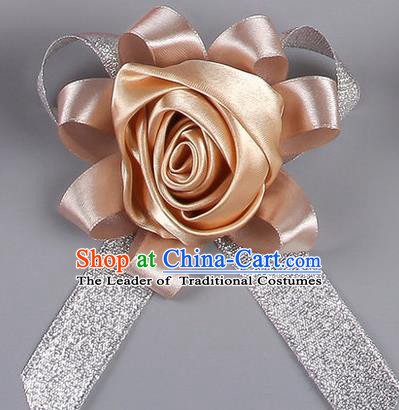 Top Grade Wedding Accessories Decoration Corsage, China Style Wedding Car Ornament Golden Rose Flowers Bride Bridegroom Ribbon Brooch