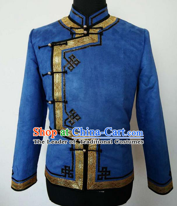 Traditional Chinese Mongol Nationality Dance Costume Handmade Blue Mongolian Coat, China Mongolian Minority Nationality Shirt Clothing for Men