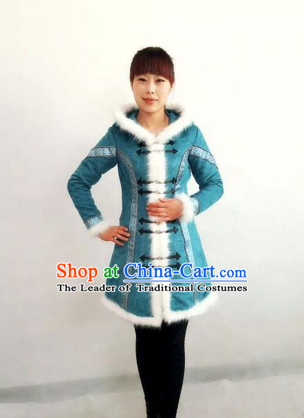 Traditional Chinese Mongol Nationality Dance Costume Handmade Blue Mongolian Robe, China Mongolian Minority Nationality Coat Clothing for Women