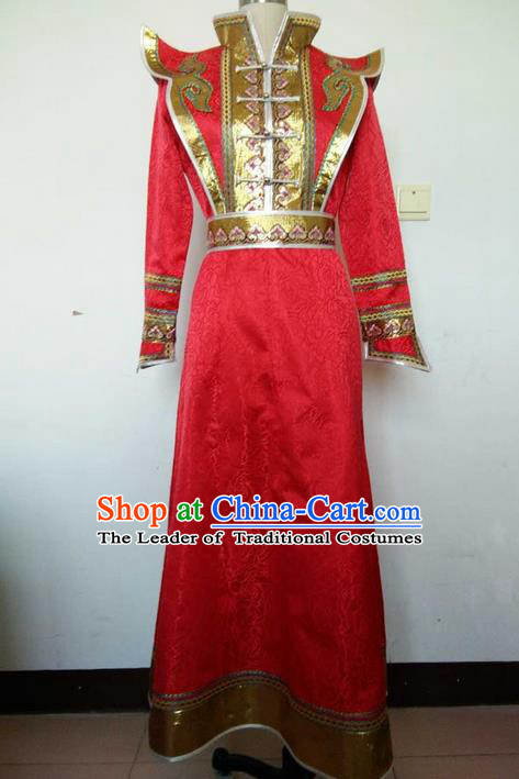 Traditional Chinese Mongol Nationality Dance Costume Handmade Red Wedding Mongolian Robe, China Mongolian Minority Nationality Bride Dress Clothing for Women