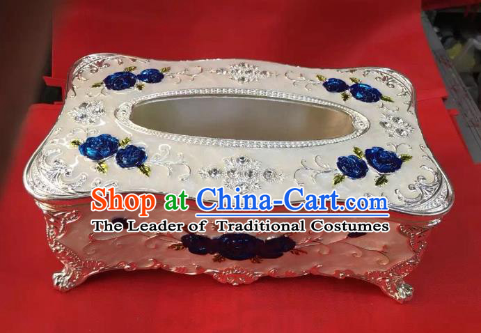 Traditional Handmade Chinese Mongol Nationality Crafts White Tissue Box, China Mongolian Minority Nationality Cloisonne Trace Silver Paper Holder