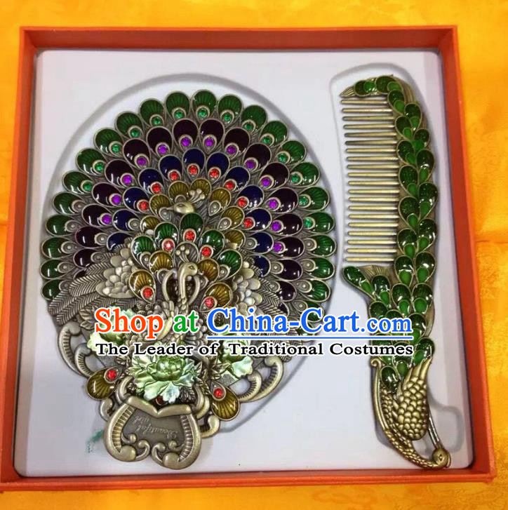 Traditional Handmade Chinese Mongol Nationality Crafts Green Hair Comb and Peacock Pocket Mirror, China Mongolian Minority Nationality Cloisonne Mirror for Women