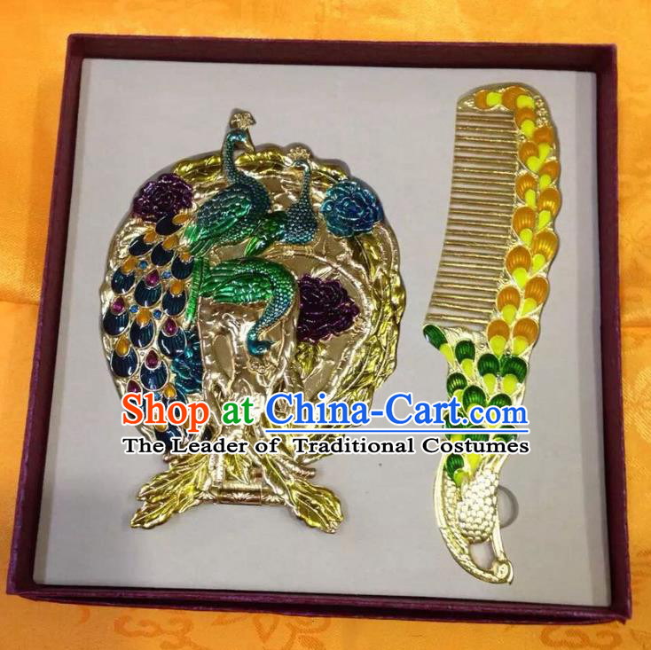 Traditional Handmade Chinese Mongol Nationality Crafts Yellow Hair Comb and Peacock Pocket Mirror, China Mongolian Minority Nationality Cloisonne Mirror for Women