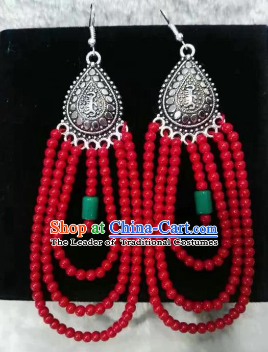 Traditional Handmade Chinese Mongol Nationality Crafts Earrings, China Mongolian Minority Nationality Accessories Red Beads Eardrop for Women