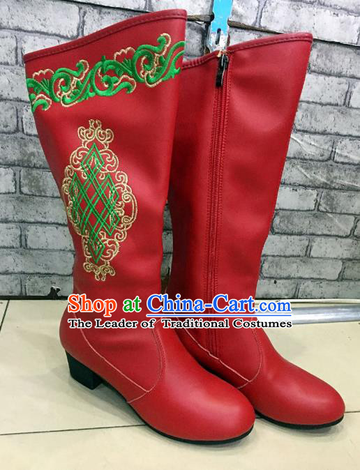 Traditional Chinese Minority Mongol Nationality Dance Shoes, Ethnic Minorities Mongolian Wedding Boots Red Embroidery Boots for Women