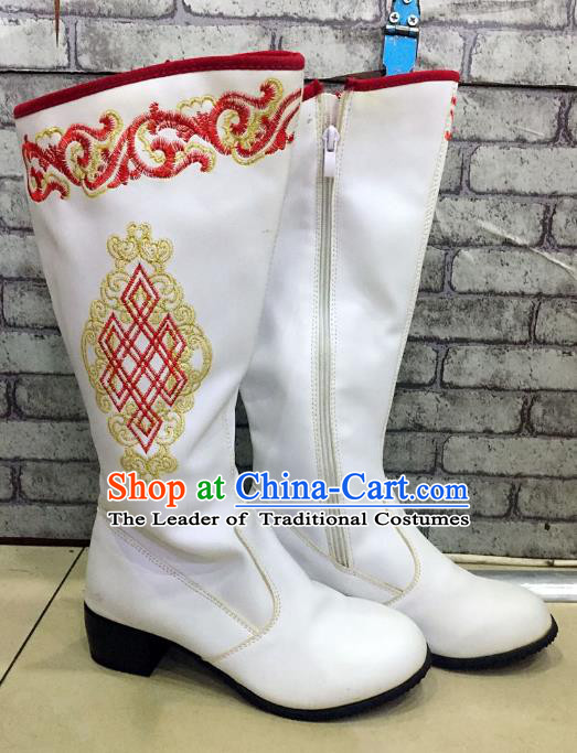 Traditional Chinese Minority Mongol Nationality Dance Shoes, Ethnic Minorities Mongolian Wedding Boots White Embroidery Boots for Women