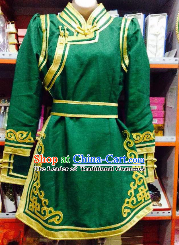 Traditional Chinese Mongol Nationality Dance Costume Handmade Embroidery Mongolian Robe, China Mongolian Minority Nationality Green Dress for Women