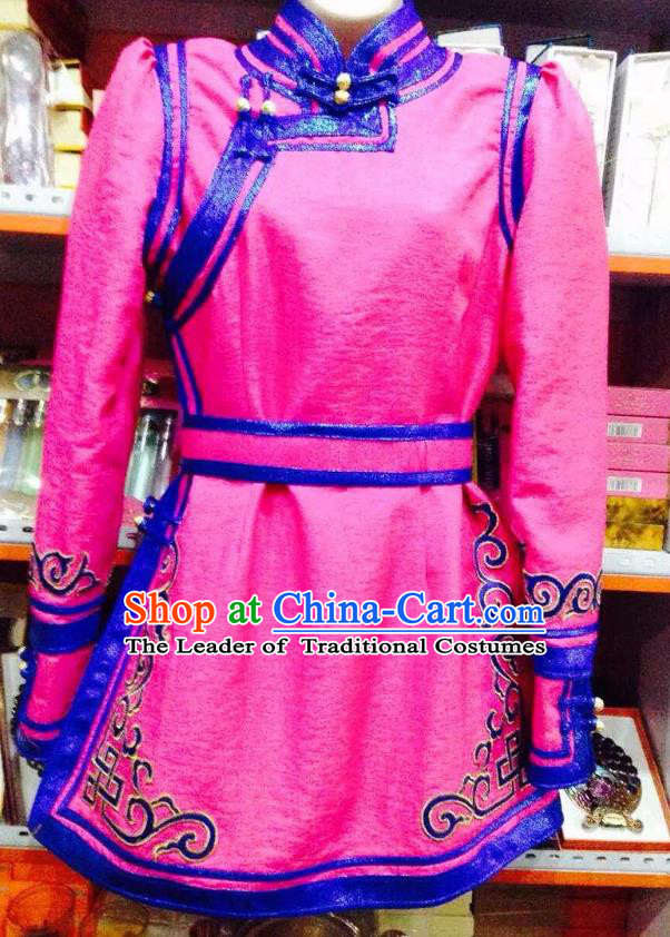 Traditional Chinese Mongol Nationality Dance Costume Handmade Embroidery Mongolian Robe, China Mongolian Minority Nationality Pink Dress for Women