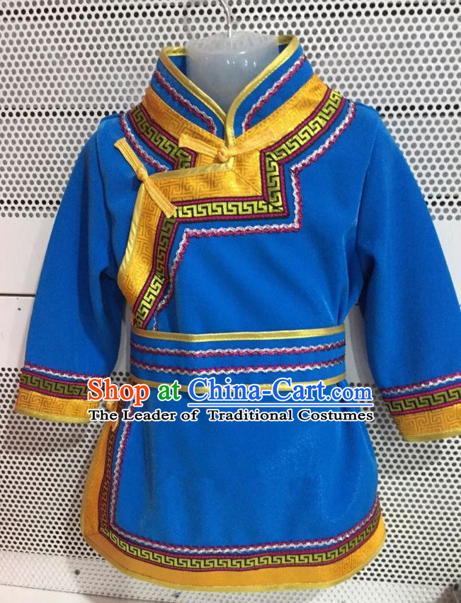 Traditional Chinese Mongol Nationality Dance Costume Handmade Embroidery Mongolian Robe, China Mongolian Minority Nationality Blue Dress for Kids