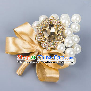 Top Grade Wedding Accessories Decoration Pearl Corsage, China Style Wedding Ornament Champagne Bride Bridegroom Golden Ribbon Crystal Brooch