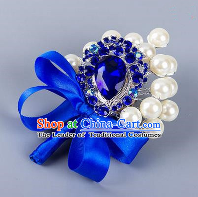 Top Grade Wedding Accessories Decoration Pearl Corsage, China Style Wedding Ornament Champagne Bride Bridegroom Royalblue Ribbon Crystal Brooch