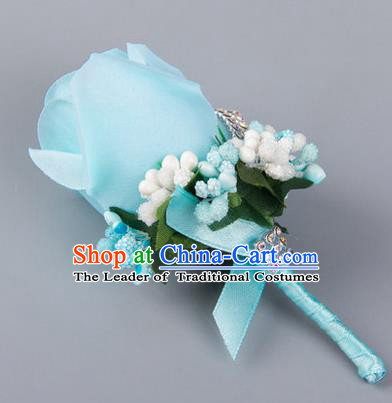 Top Grade Wedding Accessories Decoration Flower Corsage, China Style Wedding Ornament Champagne Bridegroom Blue Rose Brooch